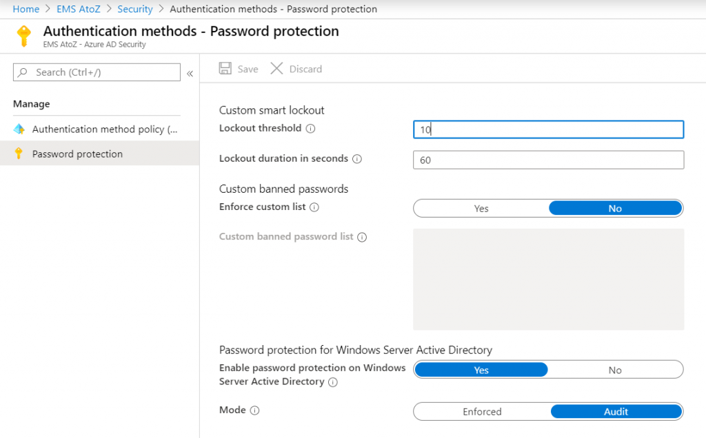 Azure ad password policy